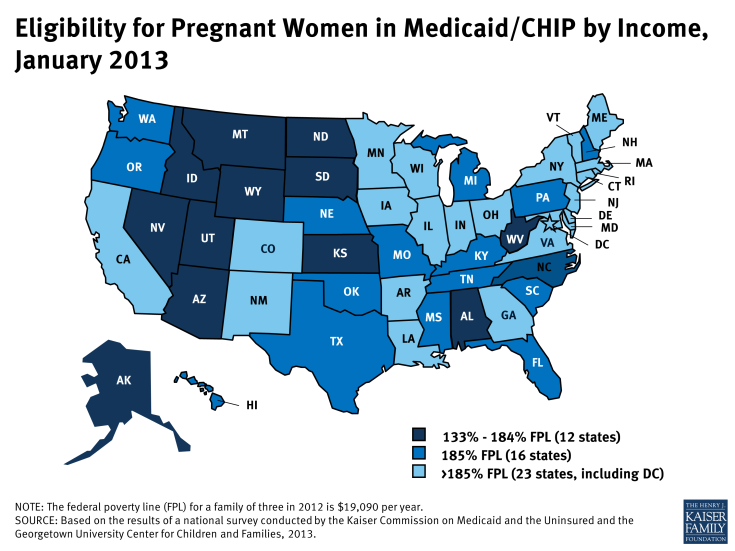 Eligibility for Pregnant Women in Medicaid/CHIP by Income, January 2013