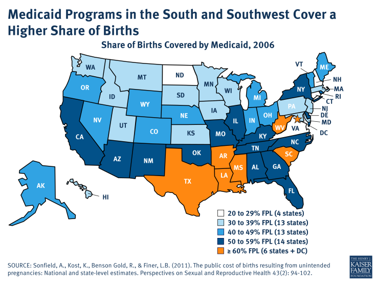 Medicaid Programs in the South and Southwest Cover a Higher Share of Births