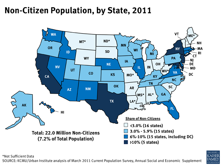 Non-Citizen Population, by State, 2011