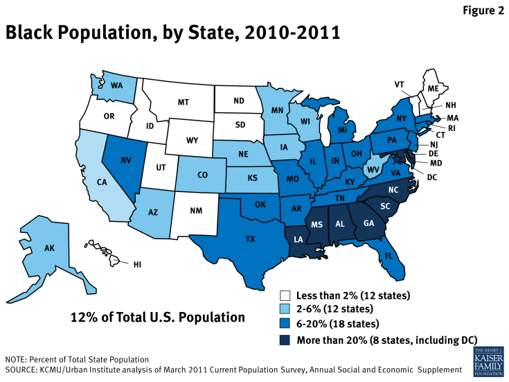 Figure 2: Black Population, by State, 2010-2011