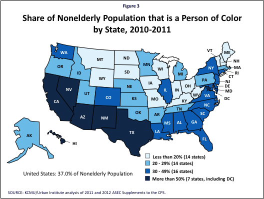 Figure 3: Share of Nonelderly Population that is a Person of Color by State, 2010-2011