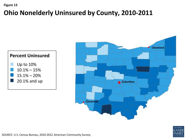 Ohio Nonelderly Uninsured by County, 2010-2011