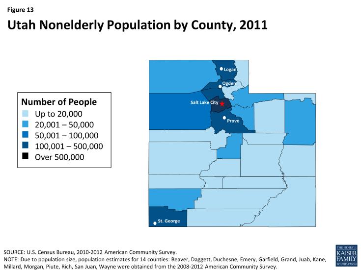 Figure 13: Utah Nonelderly Population by County, 2011