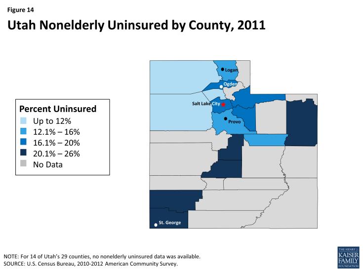 Figure 14: Utah Nonelderly Uninsured by County, 2011