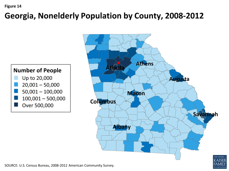 Figure 14: Georgia, Nonelderly Population by County, 2008-2012