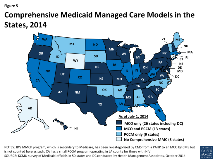 Figure 5: Comprehensive Medicaid Managed Care Models in the States, 2014