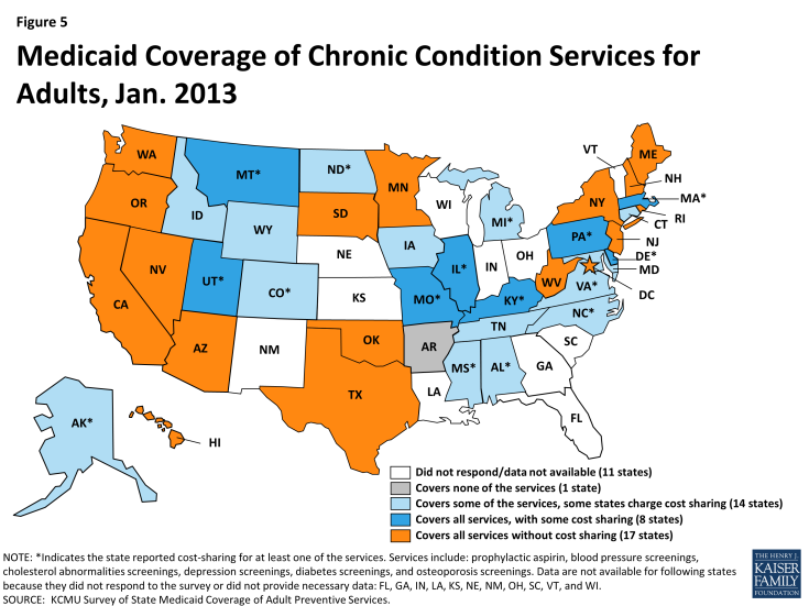 Figure 5: Medicaid Coverage of Chronic Condition Services for Adults, Jan. 2013