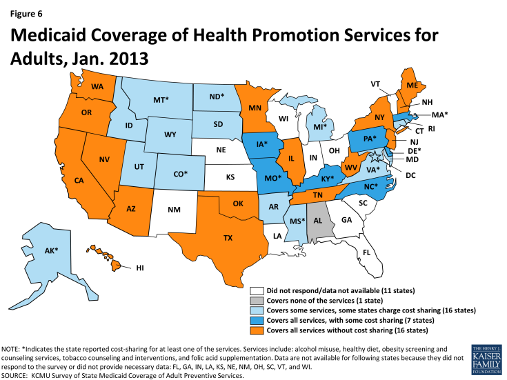 Figure 6: Medicaid Coverage of Health Promotion Services for Adults, Jan. 2013