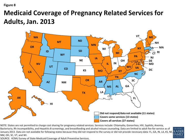 Figure 8: Medicaid Coverage of Pregnancy Related Services for Adults, Jan. 2013
