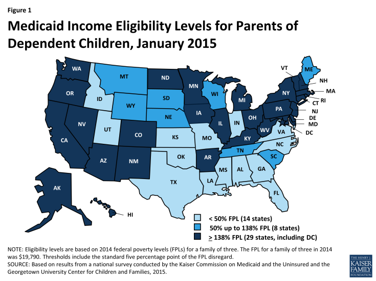 Figure 1: Medicaid Income Eligibility Levels for Parents of Dependent Children, January 2015