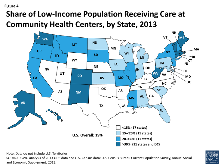 Figure 4: Share of Low-Income Population Receiving Care at Community Health Centers, by State, 2013