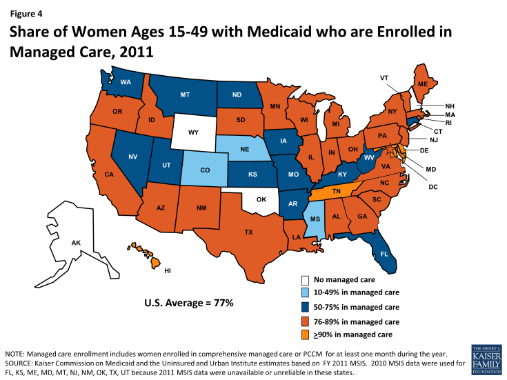 Figure 4: Share of Women Ages 15-49 with Medicaid who are Enrolled in Managed Care, 2011
