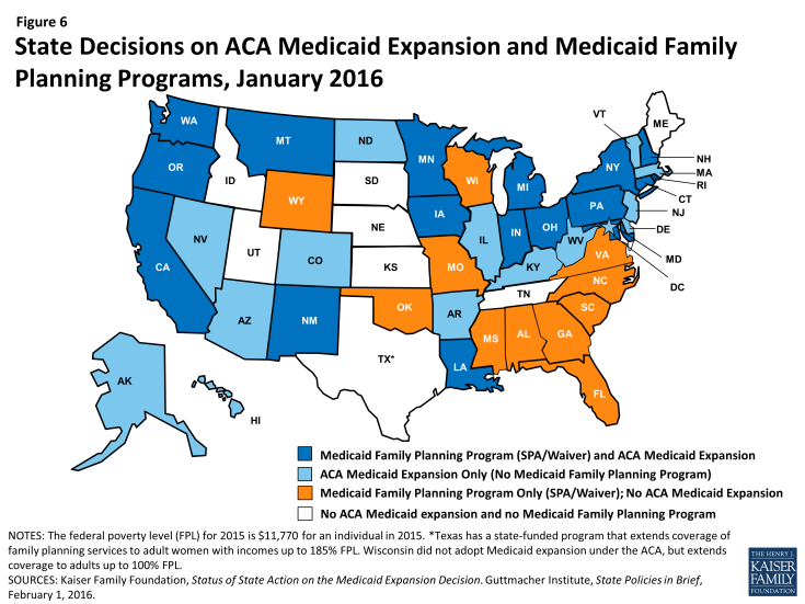 Figure 6: State Decisions on ACA Medicaid Expansion and Medicaid Family Planning Programs, January 2016