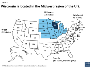 Figure 1: Wisconsin is located in the Midwest region of the U.S.