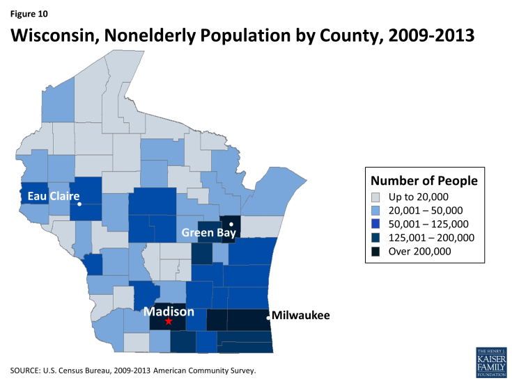 Figure 10: Wisconsin, Nonelderly Population by County, 2009-2013