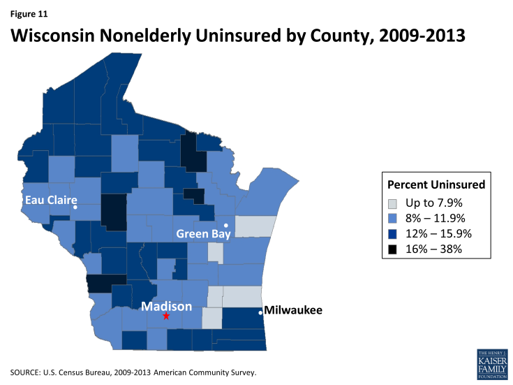 Figure 11: Wisconsin Nonelderly Uninsured by County, 2009-2013