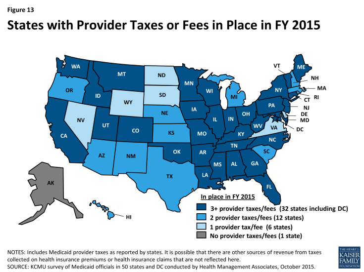 Figure 13: States with Provider Taxes or Fees in Place in FY 2015