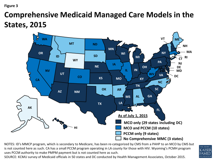 Figure 3: Comprehensive Medicaid Managed Care Models in the States, 2015