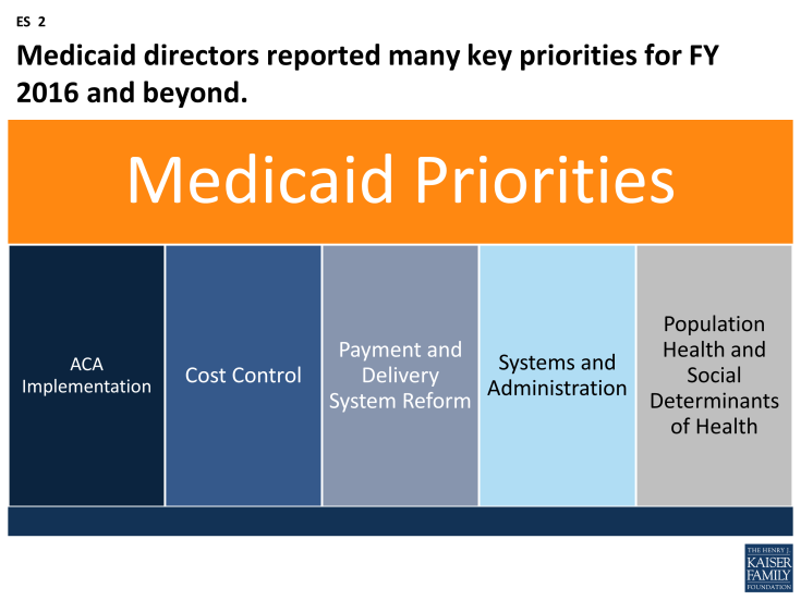 Figure ES-2: Medicaid directors reported many key priorities for FY 2016 and beyond.