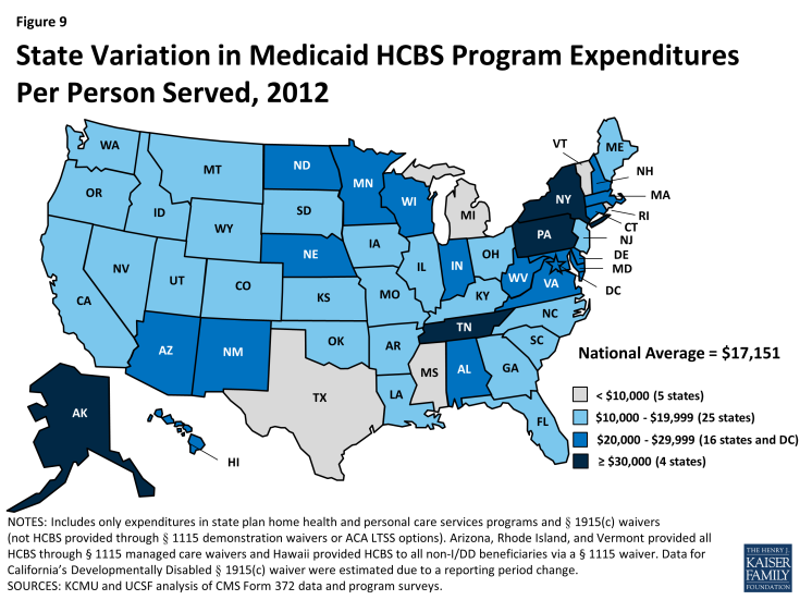 Figure 9: State Variation in Medicaid HCBS Program Expenditures Per Person Served, 2012