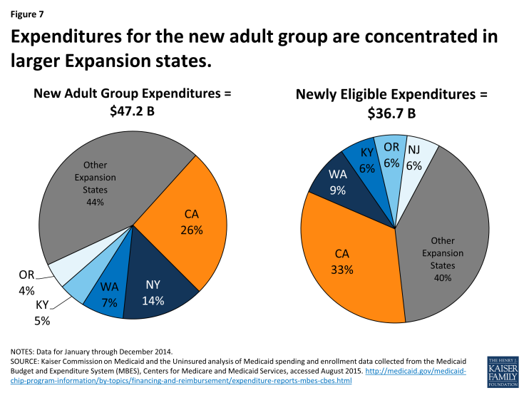 Figure 7: Expenditures for the new adult group are concentrated in larger Expansion states.