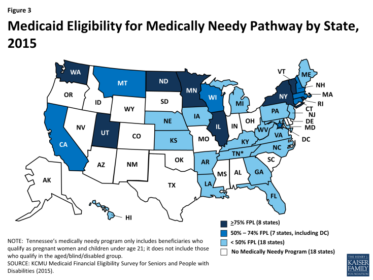 Figure 3: Medicaid Eligibility for Medically Needy Pathway by State, 2015