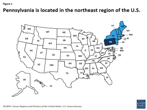 Figure 1: Pennsylvania is located in the northeast region of the U.S.