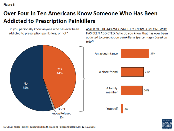 Figure 3: Over Four in Ten Americans Know Someone Who Has Been Addicted to Prescription Painkillers