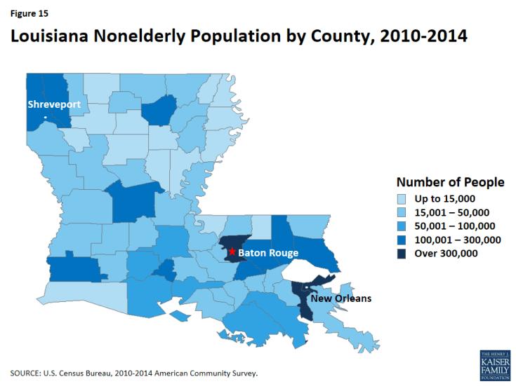 Figure 15: Louisiana Nonelderly Population by County, 2010-2014