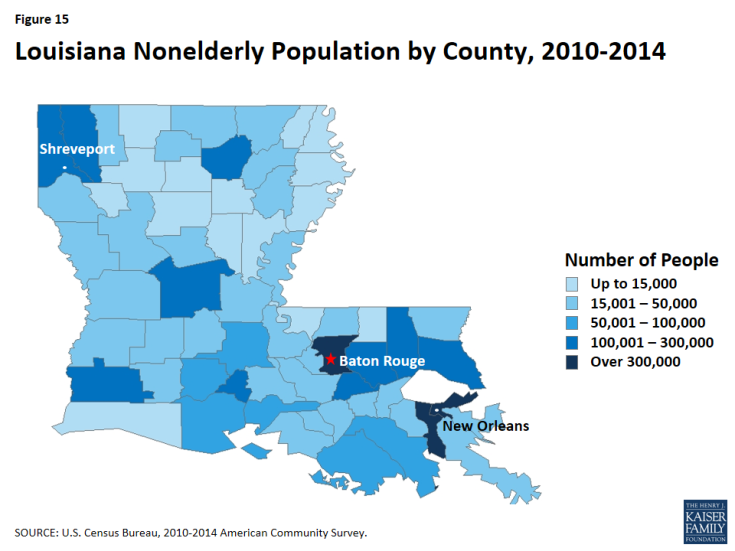 Figure 15: Louisiana Nonelderly Population by County, 2010-2014