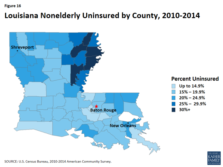 Figure 16: Louisiana Nonelderly Uninsured by County, 2010-2014