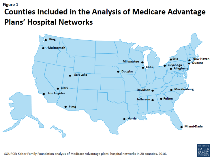 Figure 1: Counties Included in the Analysis of Medicare Advantage Plans' Hospital Networks