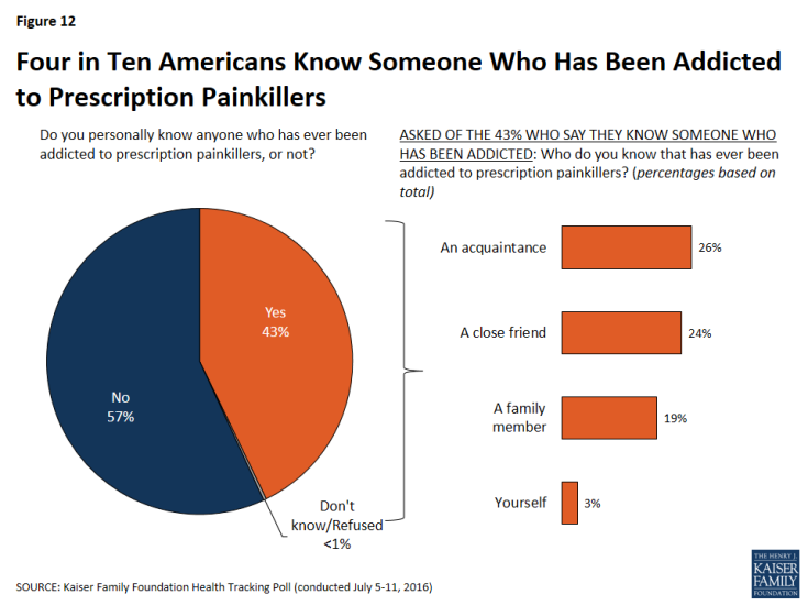 Figure 12: Four in Ten Americans Know Someone Who Has Been Addicted to Prescription Painkillers