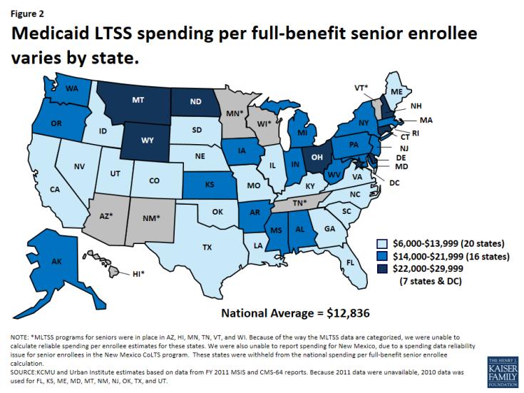 Figure 2: Medicaid LTSS spending per full-benefit senior enrollee varies by state.