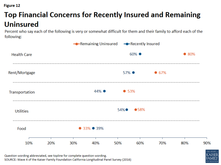 Figure 12: Top Financial Concerns for Recently Insured and Remaining Uninsured
