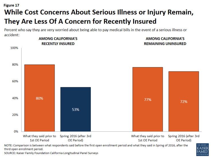 Figure 17: While Cost Concerns About Serious Illness or Injury Remain, They Are Less Of A Concern for Recently Insured