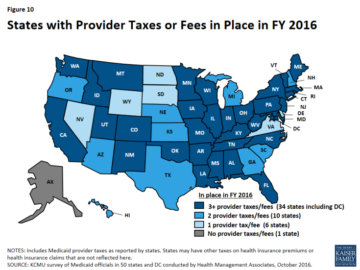 Figure 10: States with Provider Taxes or Fees in Place in FY 2016