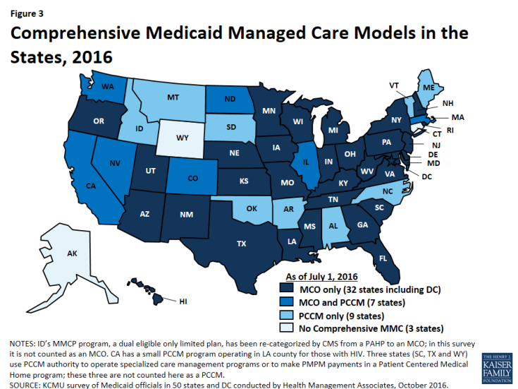 Figure 3: Comprehensive Medicaid Managed Care Models in the States, 2016