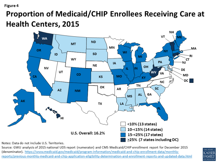 Figure 4: Proportion of Medicaid/CHIP Enrollees Receiving Care at Health Centers, 2015