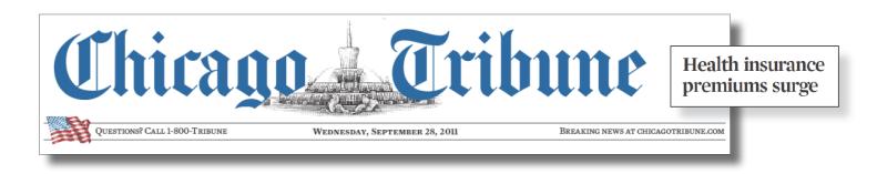 Headline from the Chicago Tribune
