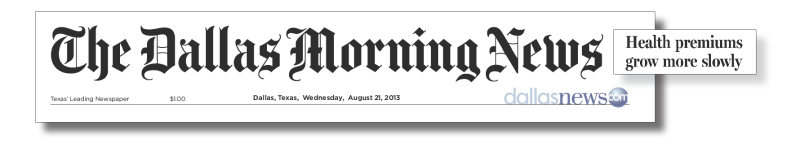 Headline from the Dallas Morning News