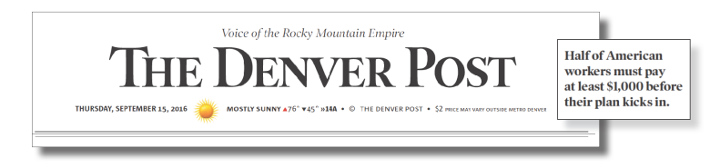 Headline from the Denver Post