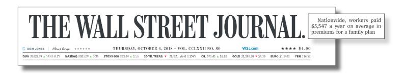 Headline from the Wall Street Journal