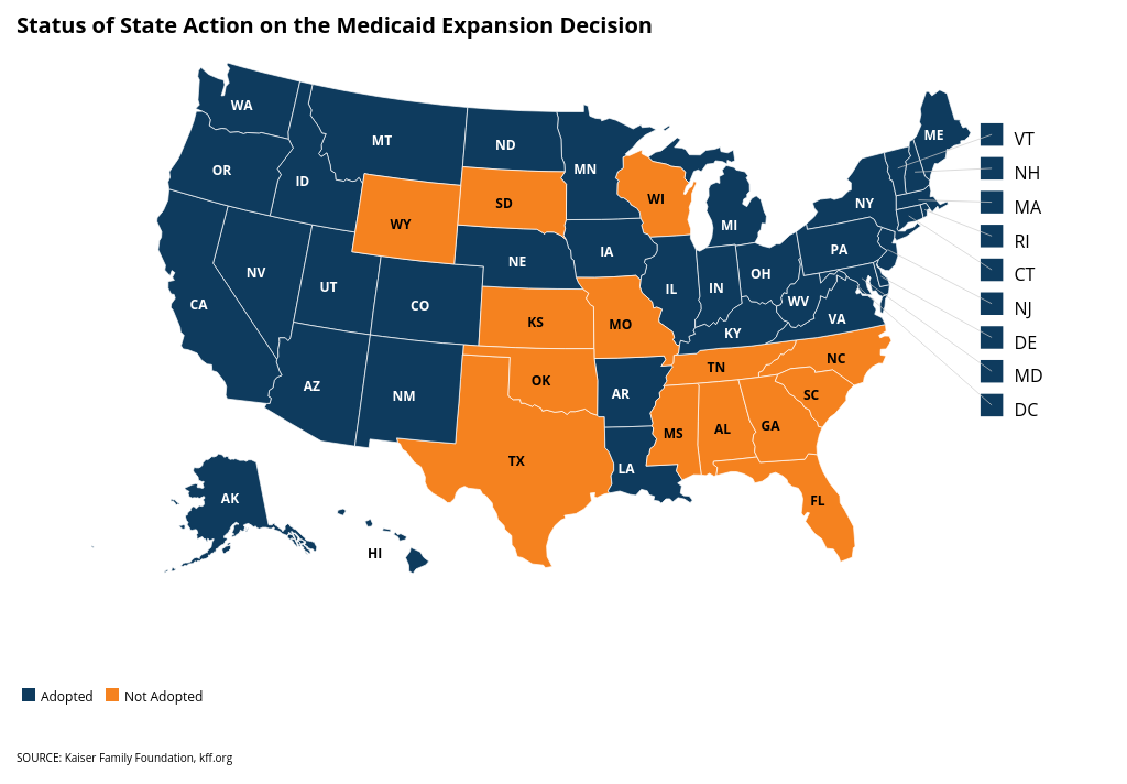 Status Of State Medicaid Expansion Decisions Interactive Map - Us-governors-map