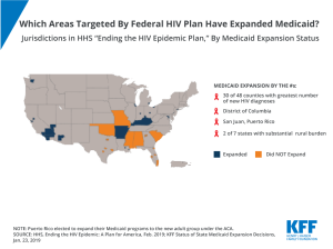 Counties targeted by HHS plan to end HIV epidemic, Medicaid Expansion, Medicaid, HIV/AIDS, Chart of the Week