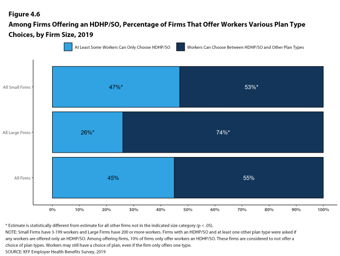 Figure 4.6: Among Firms Offering an HDHP/SO, Percentage of Firms That Offer Workers Various Plan Type Choices, by Firm Size, 2019