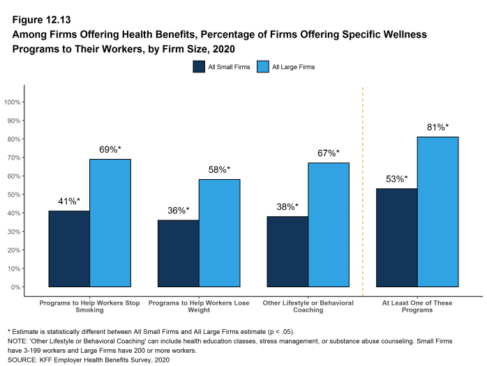 Figure 12.13: Among Firms Offering Health Benefits, Percentage of Firms Offering Specific Wellness Programs to Their Workers, by Firm Size, 2020