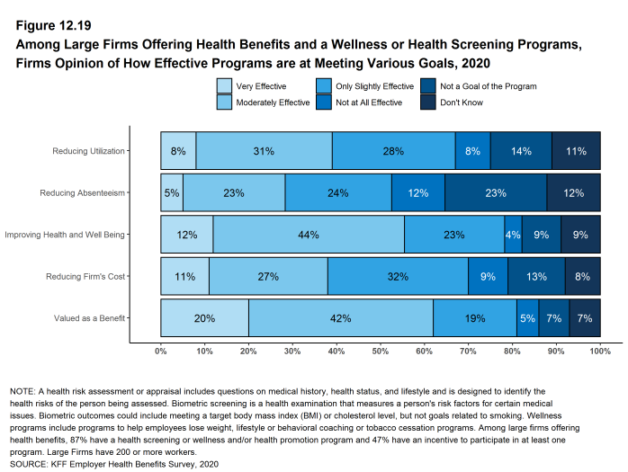 Figure 12.19: Among Large Firms Offering Health Benefits and a Wellness or Health Screening Programs, Firms Opinion of How Effective Programs Are at Meeting Various Goals, 2020