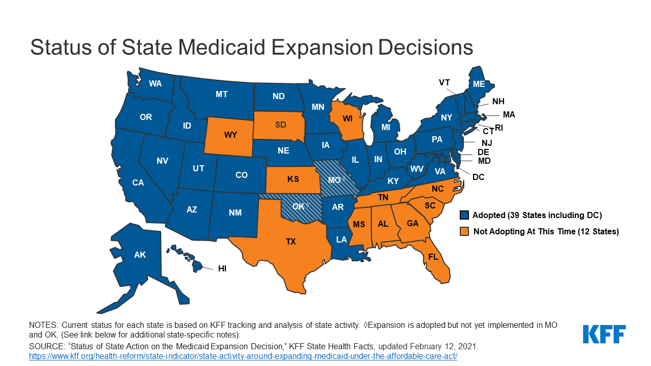 Image result for medicaid expansion map
