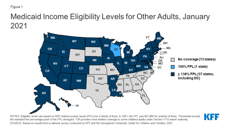 Figure 1: Medicaid Income Eligibility Levels for Other Adults, January 2021